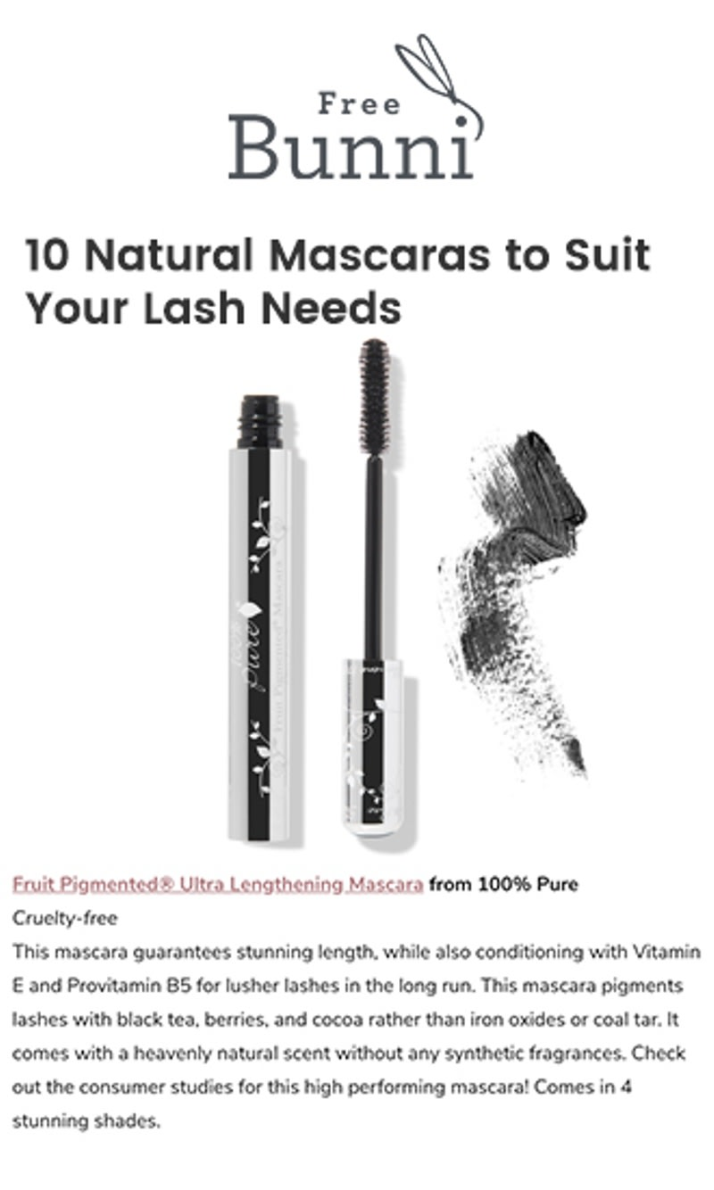 24e46a3d024 10 Natural Mascaras to Suit Your Lash Needs. Press Release: FreeBunni ...